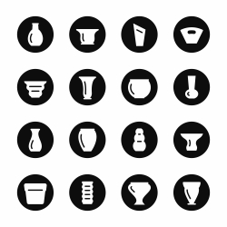 Pot and Vase Icons Set 1 - Black Circle Series