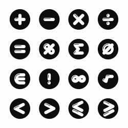 Mathematics Icons - Black Circle Series