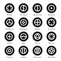 Chemical Element Icons Set 1 - Black Circle Series