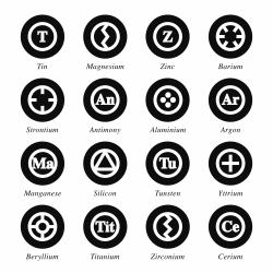 Chemical Element Icons Set 3 - Black Circle Series