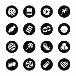 Candy Icons Set 4 - Black Circle Series