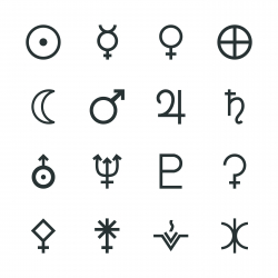 Solar System Silhouette Icons