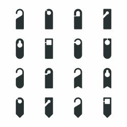 Door Hanger Sign Silhouette Icons