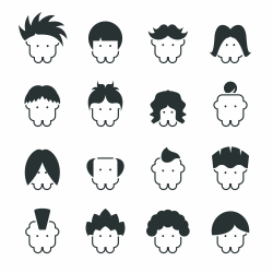 Hair Style Silhouette Icons