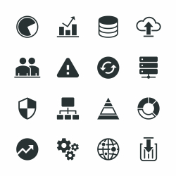 Database Management Silhouette Icons