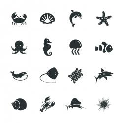 Marine Life Silhouette Icons