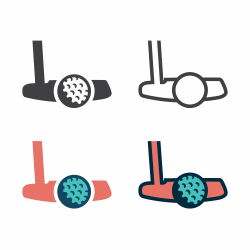Golf Putter With Ball Icon