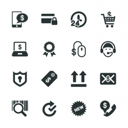 Online shopping Silhouette Icons