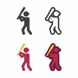 Baseball Athlete Icon