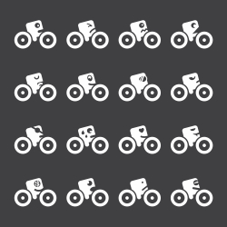 Cycling Emoticons Icons - White Series