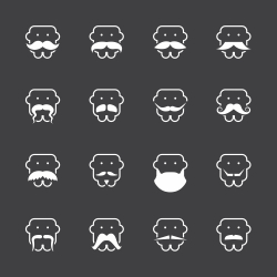 Mustache Style Icons - White Series