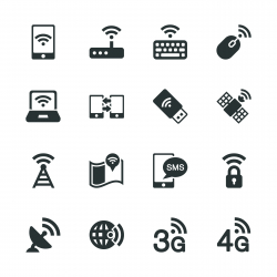 Mobile and Wireless Technology Silhouette Icons