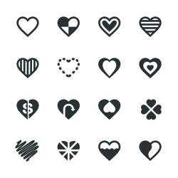 Heart Silhouette Icons | Set 3