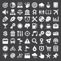 Universal Icon 64 Icons - White Series