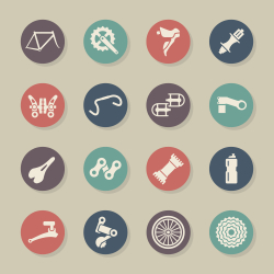 Bicycle Parts Icons - Color Circle Series