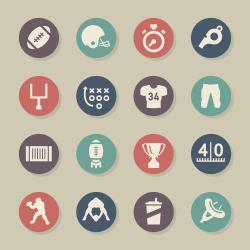 American Football Icons - Color Circle Series