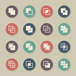 Square Shape Icons - Color Circle Series