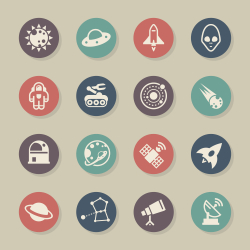 Space Icons - Color Circle Series