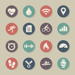 Fitness Tracker Icon - Color Circle Series