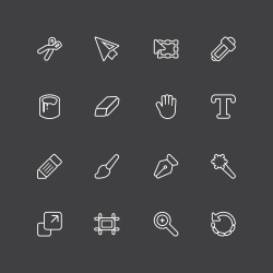 Design Tools Icons - White Line Series