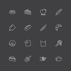 Bakery Icons - White Line Series