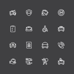 Car Insurance Icon - White Line Series