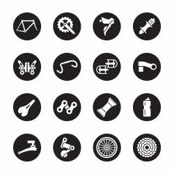 Bicycle Parts Icons - Black Circle Series
