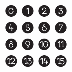 Numeric Arrow Icons - Black Circle Series