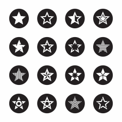 Star Shape Icons - Black Circle Series