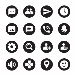 Chat App Icons - Black Circle Series