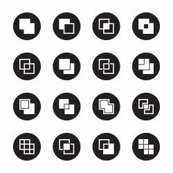 Square Shape Icons - Black Circle Series