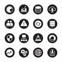 Database Management Icons - Black Circle Series