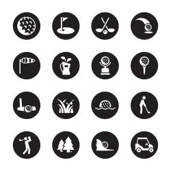 Golf Icons - Black Circle Series