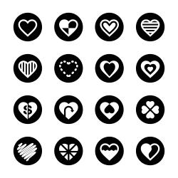 Heart Icon Set 3 - Black Circle Series