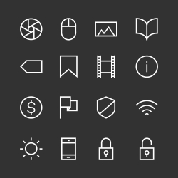 Basic Icon Set 3 - White Line Series