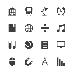 Education & School Icon Set 2 - Gray Series