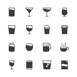Drink Icon Set 1 - Gray Series