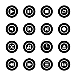Music Player Icon - Black Circle Series