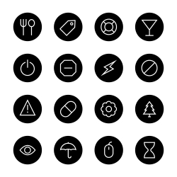 Basic Icon Set 7 - Black Circle Series