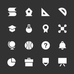 Education & School Icon Set 1 - White Series