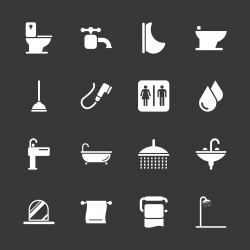 Bath and Bathroom Icons - White Series | EPS10