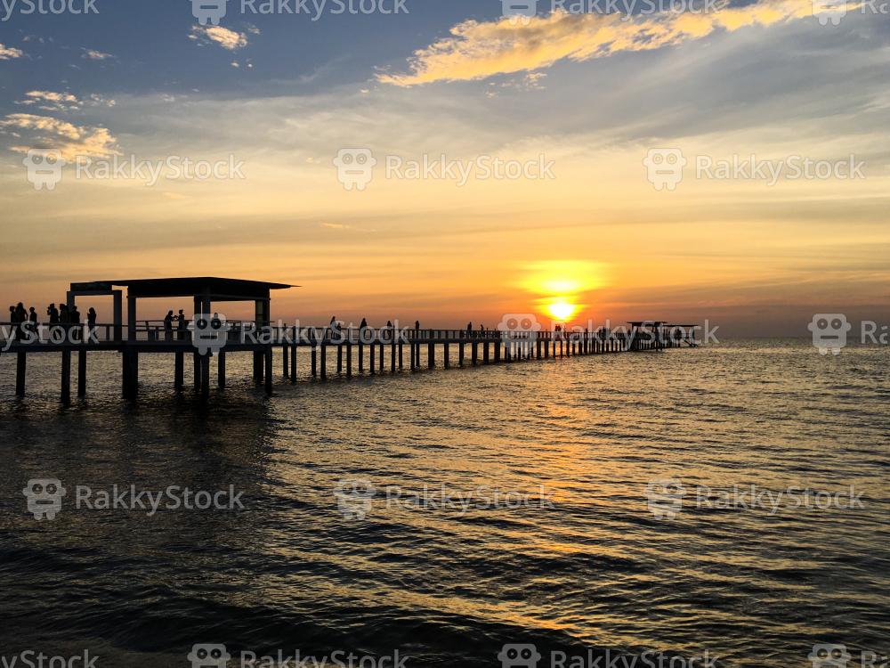 The Bridge in Sunset at Chonburi, Thailand
