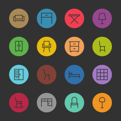 Furniture Icon - Color Circle Series
