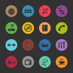 Hotel Icons Set 2 - Color Circle Series