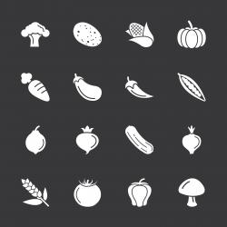 Vegetable Icons - White Series | EPS10