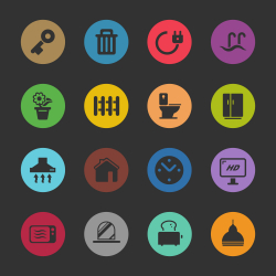Home Icons - Color Circle Series