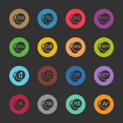 Currency Symbol Icons Set 2 - Color Circle Series