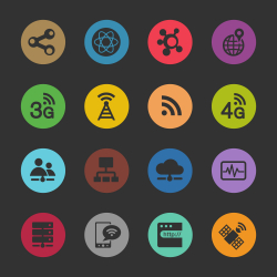 Network Icons - Color Circle Series