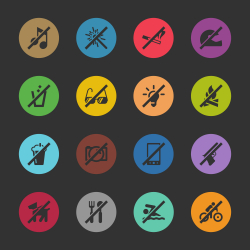 Prohibitions Icons Set 1 - Color Circle Series