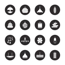 Lamp Design Icons - Black Circle Series